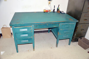 Large Antique Solid Wood Desk