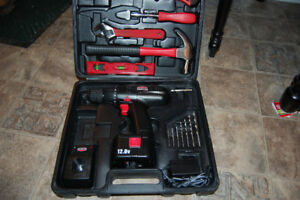 Jobmate toolbox with 12 v drill.