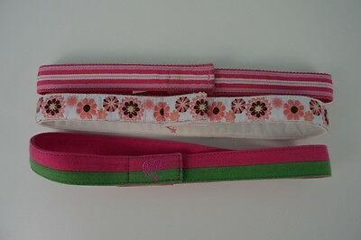 Myself Belts Lot of Three Girl's Size XL Pink White Green Stripe Floral