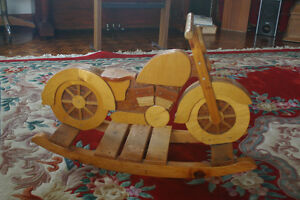 Solid Wooden rocking Motor Cicle