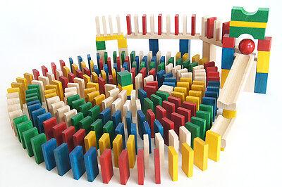 830 Dominosteine bunt Bausteine Holz Bauklötze Holzklötze Holzbausteine Domino..
