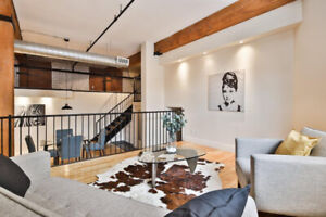 Loft /Condo 100% meublé Completely Furnished with Parking.
