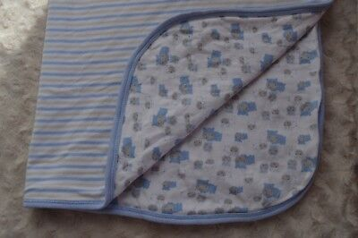 Gerber Organic Baby Blanket Hippos Stripes Hippopotamus Blue White Tan Security