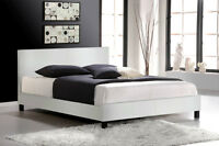 Espresso or White Leather Platform Bed, NEW w/ FREE Delivery!