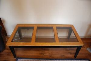 Oak Top Coffee Table With Glass 50