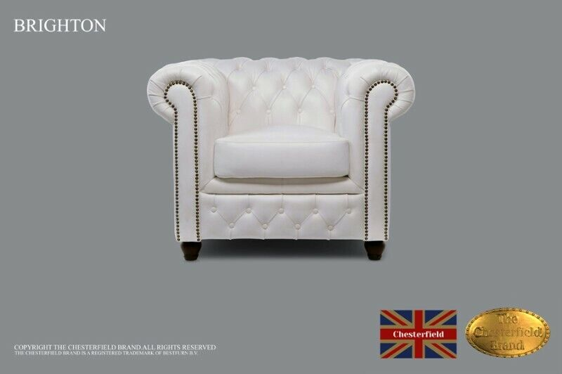 Chesterfield Armchair -The Chesterfield Brand Authentic -Classic white- Real leather -HANDMADE