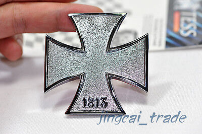 (Silver 1813 Iron Cross 3D Car Auto Emblem Badge Sticker Decal Chromed Metal SUV)