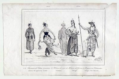 Java-Jawa-Tanz-Trachten-Kostüme-Ethnologie - Stahlstich - Stahl Kostüme