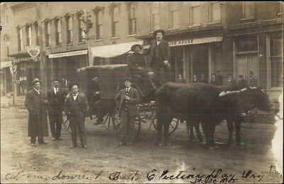 St  Joseph Mo Election Day Dry Town Men Oxen Wagon Stores C1910 Rppc