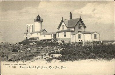 Cape Ann Ma Eastern Point Lighthouse C1905 Postcard