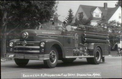 Stoughton MA Fire Engine #2 c1950s Real Photo Postcard