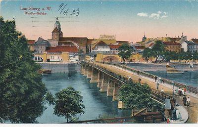 AK Landsberg a. W. Warthe Brücke, 1923, (G)1844
