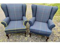 Newly professionally reupholstered wingback/fireside/Arm chairs