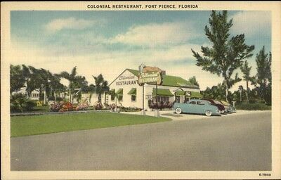 Fort Pierce FL Colonial Restaurant Roadside Linen Postcard