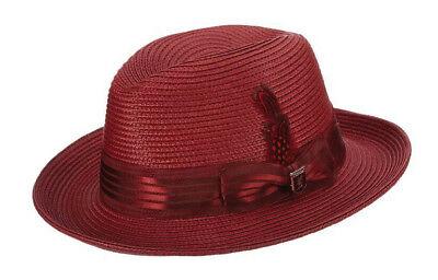 STACY ADAMS * MENS RED WINE FEDORA HAT * NEW ROCKER SUN SHADY DRESS STRAW - Pimp Fedora