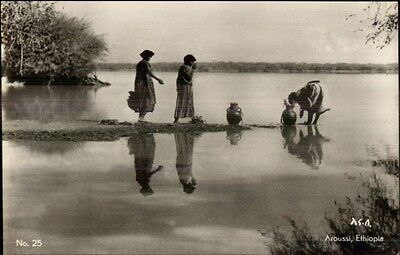Aroussi Ethiopia Native Women Gather Water Real Photo Postcard