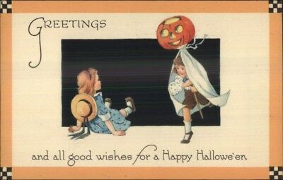 Halloween Boy & Girl Play JOL Ghost Costume GIBSON c1915 Postcard EXC COND