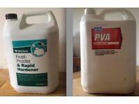 PVA Admixture Adhesive 5L. Frostproofer & Rapid Hardener 5L. Both unopened