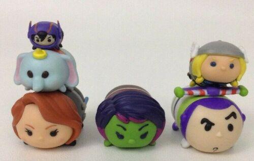 Disney Tsum Tsum Figures Lot of 6pc Dumbo Buzz Lightyear Thor Black Widow Hiro