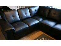 Corner sofa bonded leather black