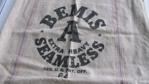 Antique Feed SEED Bag BEMIS A Extra Heavy SEAMLESS Cotton Canvas Grain SACK