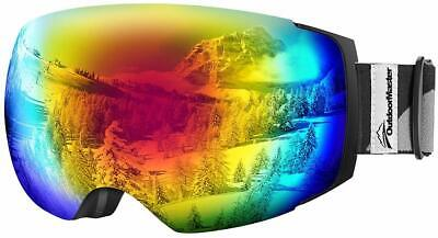 OutdoorMaster Ski Goggles PRO Removable Magnetic Lens 100% UV400 Protection