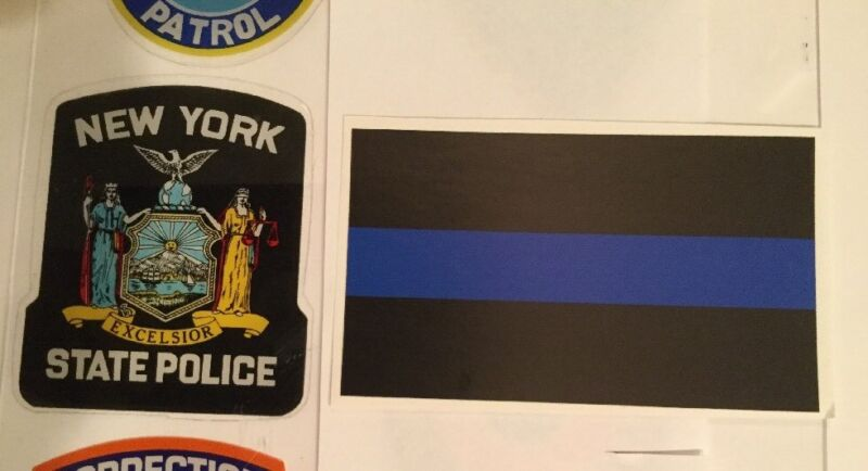NYS NY New York State Police OFFICIAL IN/window Faces/OUT Decal + Blue Sticker O