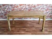 Reclaimed Farmhouse Oak Style Rustic Hardwood Extending Rustic Dining Table - To Seat 6 - 12 people
