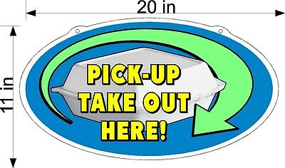 Pick Up Take Out Order Here Plexiglass Sign 11 X 20 Take Out Box Picture New