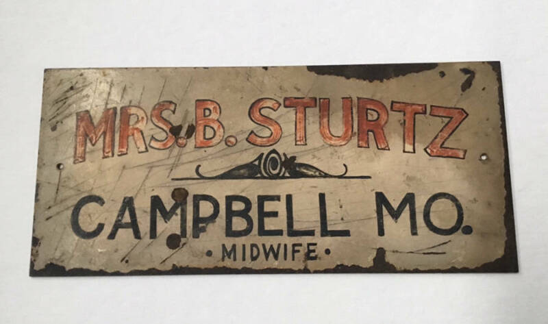 Rare Antique Primitive Doctor Medical MIDWIFE Sign Americana Campbell MO