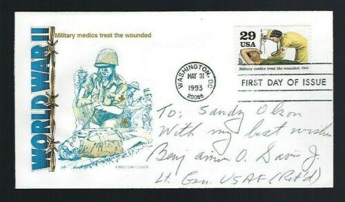 Benjamin O. Davis signed cover WWII Tuskegee Airmen Commander