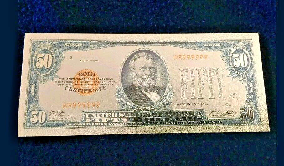 A☆✔MINT☆OLD STYLE $50.00 GOLD CERTIFICATE $50 DOLLAR Rep.*Bank☆note W/COA☆✔