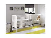 Kinder Valley Kai Cot in White with Mattress less than 1 year old