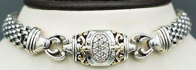 Designer 14K Yellow Gold, Sterling Silver & .32ct Diamond Bracelet! READ! 425 -