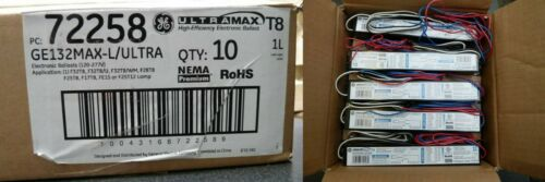 GE GE132Max-L/Ultra 1-Lamp T8 72258 Electronic Ballast 120-277V (Box of 10) NEW