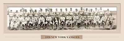 VINTAGE 1928 NEW YOUR YANKEES PANORAMIC PRINT 11.750 X 36  W/DOUBLE FAUX MATTE