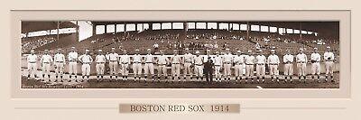 VINTAGE 1914 BOSTON RED SOX PANORAMIC PRINT 11.75 X 36  W/DOUBLE FAUX MATTE