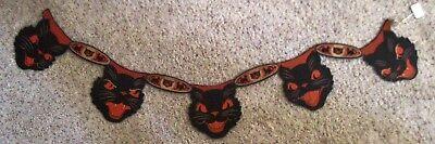 Fantastisch Seltener Jahrgang Halloween Katze Banner mit 5 Katze Abbildungen