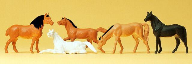 Preiser 14150 H0, Pferde, 5 Figuren, handbemalt, Neu