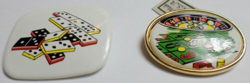 2 - Large Vintage Porcelain Roulette Table & Donimos Gambling Cameos Brooches