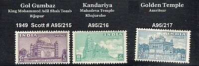 INDIA1949 MINT STAMPS ON ARCHITECTURE GOLDEN & MAHADEVA TEMPLES MUSLIM KING TOMB