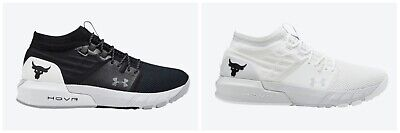 New Under Armour Project Rock 2 Black White US Mens Sizes 7.5-15 Running Shoes