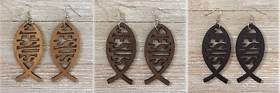 Christian JESUS Fish Cutout Natural Wood Lightweight Dangle Earrings