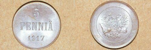 1917 FINLAND 5 PENNIA - UNC BN GEM
