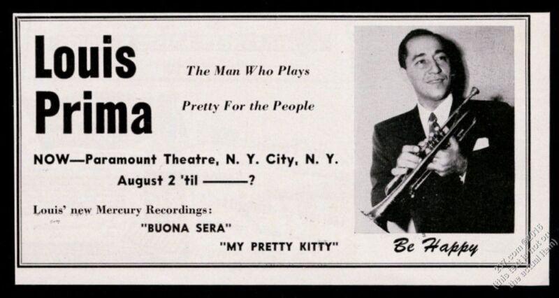 1950 Louis Prima photo Buona Sera record release vintage print ad