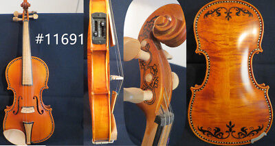 Baroque style SONG brand art inlay/drawing electric & acoustic violin 4/4 #11691