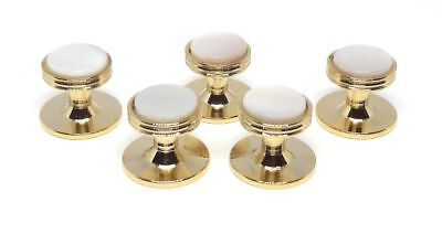 MOTHER OF PEARL / GOLD TUXEDO SHIRT STUDS (5)  MANUFACTURERS DIRECT PRICING!!!