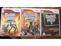 3 Guitar Hero games and 2 guitars - Wii