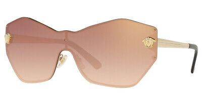 Versace GLAM MEDUSA SHIELD Sunglasses VE2182 12526F Gold / Gradient Pink Mirror
