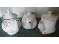 Teapots + Chatsford PG Tips, Staffordshire fine bone china & Charmaine Elizabethan, 3 cups & jug